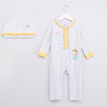 Lovely Princess Printed Sleepsuit with V-neck and Long Sleeves