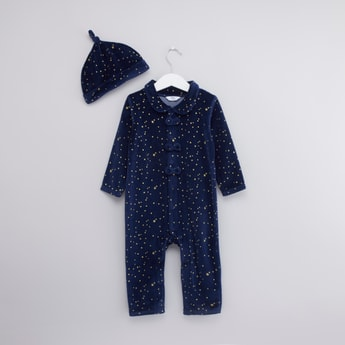 Star Printed Sleepsuit with Bow Applique and Cap