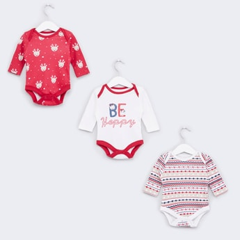 Set of 3 - Printed Bodysuit with Long Sleeves