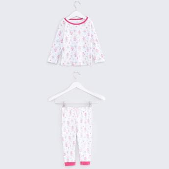 Floral Printed Long Sleeves T-Shirt with Jog Pants