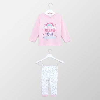 Graphic Print Round Neck T-shirt and Pyjama Set