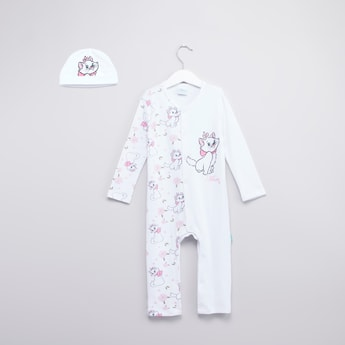 Marie the Cat Printed Sleepsuit with Beanie