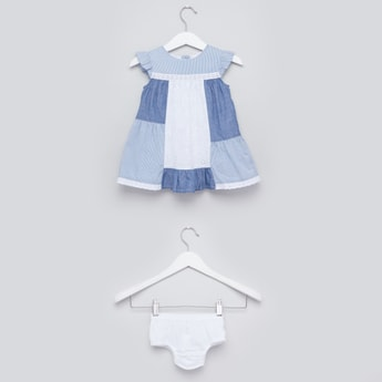 Denim Patchwork Sleeveless Dress with Bloomers