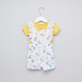 Floral Printed Eyelet Romper and Round Neck T-shirt with Short Sleeves