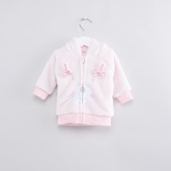 Textured Bow Applique Long Sleeves Hood Jacket