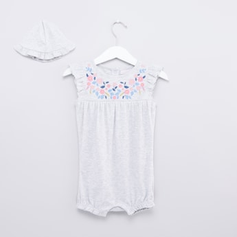 Embroidered Romper with Cap