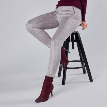 High-Waist Checked Jeggings with Elasticated Waistband