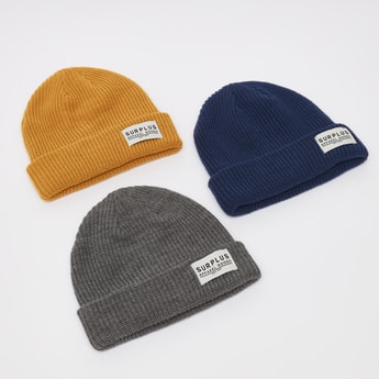 Set of 3 - Textured Beanie Cap