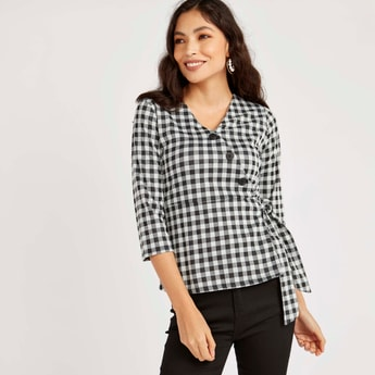 Chequered Wrap Top with Tie Ups and 3/4 Sleeves