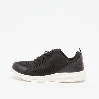Textured Lace Up Sports Shoes with Pull Tab