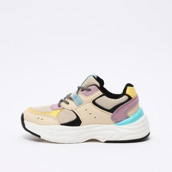 Colour Block Lace Up Sports Shoes