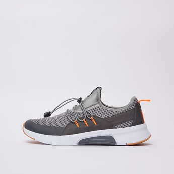 Textured Sports Shoes with Pull Tab and Drawstring Closure