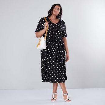 Polka Dots Printed Midi Dress with Short Sleeves and Tie Ups