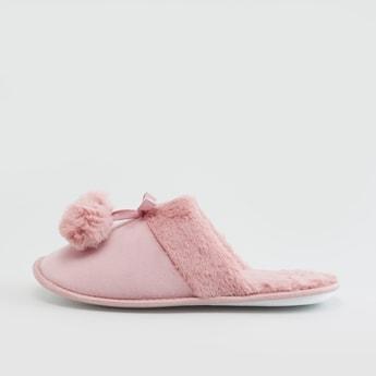 Plush Bedroom Slippers with Pom Pom Applique