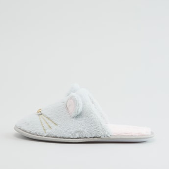Plush Bedroom Slippers with Appliques