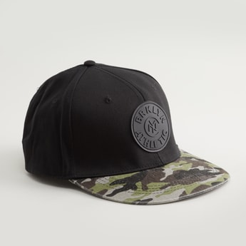 Textured Cap with Applique Detail and Snap Closure