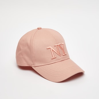 Embroidered Cap with Plate Buckle Closure