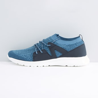 Mesh Detail Lace-Up Sports Shoes with Ribbed Ankle Collar