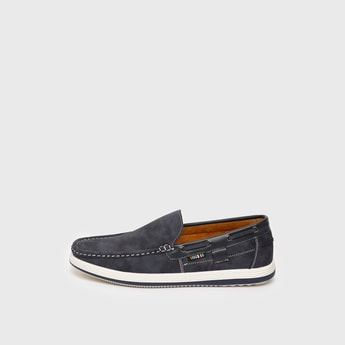 Solid Slip-On Loafers with Stitch Detail