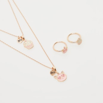 Set of 4 - BFF Pendant Necklace and Finger Rings