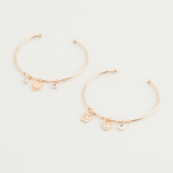 Set of 2 - Studded Cuff Bracelets with Charms