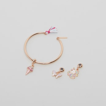 Set of 4 - Metallic Cuff With 3 Assorted Charm Detail