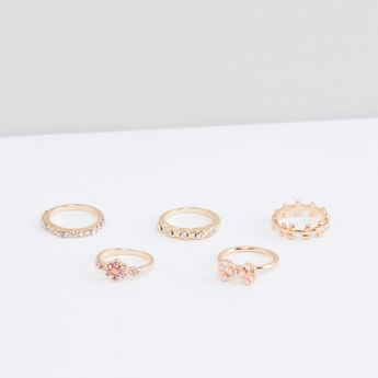 Assorted Studded Finger Ring - Set of 5