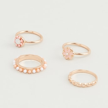 Set of 4 - Stud Detail Finger Rings