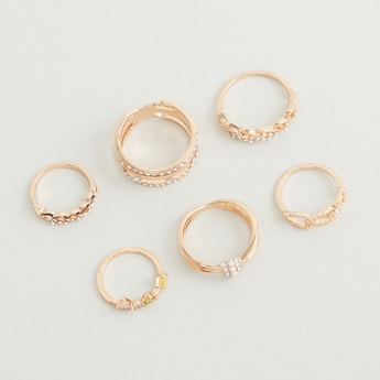 Set of 6 - Stone Studded Rings