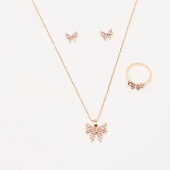 Studded Butterfly 4-Piece Jewellery Set