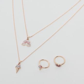 طقم مجوهرات مرصع - 3 قطع