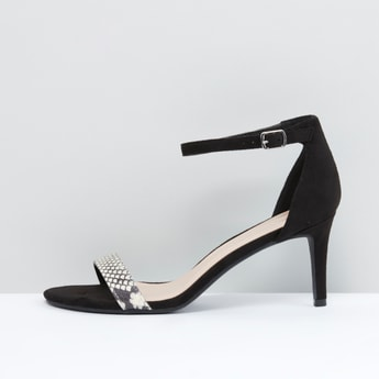 Embellished Heels with Buckle Closure
