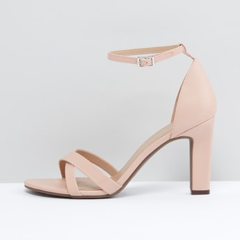 Block Heel Sandals with Adjustable Ankle Strap