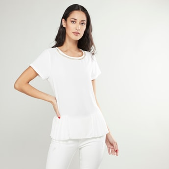Pleat Detail Top with Short Sleeves and Chain Trim