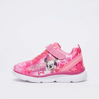Minnie Mouse Print Sports Shoes with Hook and Loop Closure