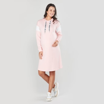 Maternity Plain Midi Shift Dress with Hood and Long Sleeves