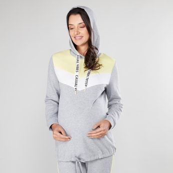 Maternity Striped Sweat Top with Hood and Long Sleeves