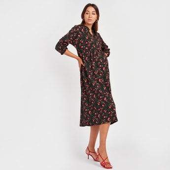 Floral Print V-Neck A-Lini Midi Dress with 3/4 Sleeves