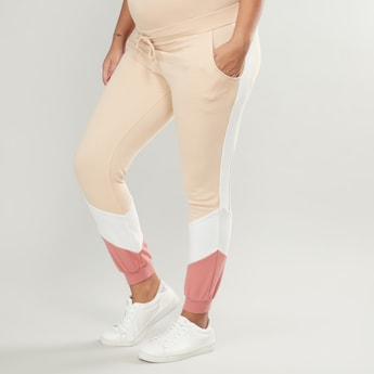 Solid Mid Rise Jog Pants with Ribbed Hems