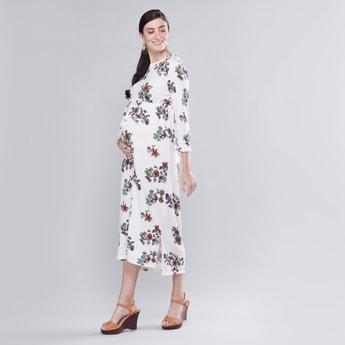 فستان إيه لاين متوسط الطول بياقة مستديرة وأكمام 3/4 وطبعات أزهار