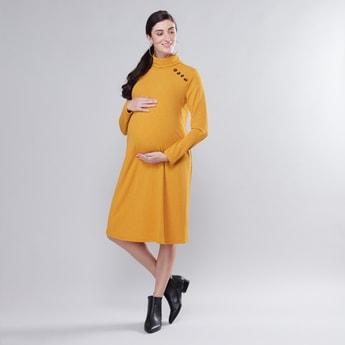 Maternity Textured Midi A-line Dress with Turtleneck and Long Sleeves