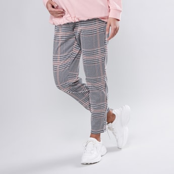 Maternity Straight Fit Full Length Chequered Pants