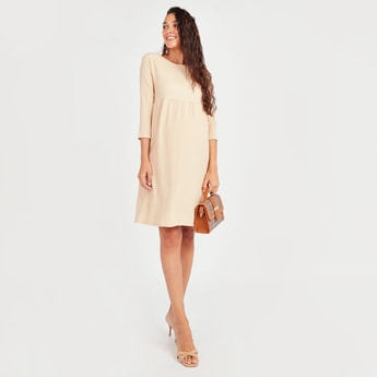 Maternity Textured Midi A-line Dress with Round Neck and 3/4 Sleeves