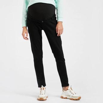 بنطلون جينز للحوامل سادة ببطن كاملة وخصر متوسط الارتفاع وسحّاب إغلاق