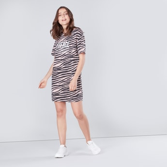 Printed Mini Shift Dress with Short Sleeves