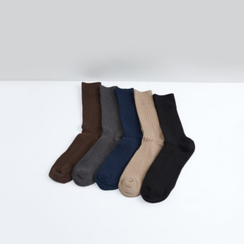Set of 5 - Textured Crew Length Socks
