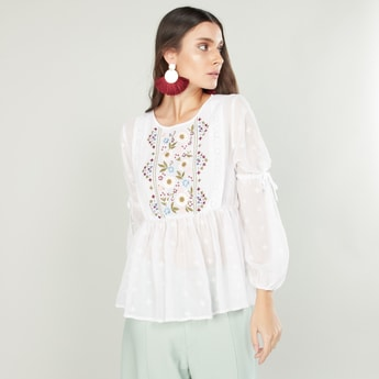 Embroidered Top with Round Neck and Bishop Sleeves