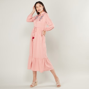 Embroidered Midi A-line Shirt Dress with Spread Collar and Long Sleeves