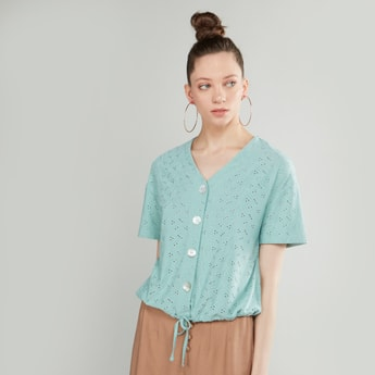 Schiffli Detail Top with V-neck and Short Sleeves