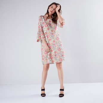 Floral Printed Round Neck Tunic with Flared Sleeves